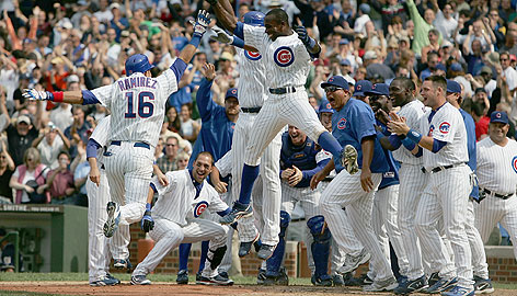 I travelled to the future and found this picture with this caption: CUBS WIN THE PENNANT! CUBS WIN THE AAA PENNANT!
